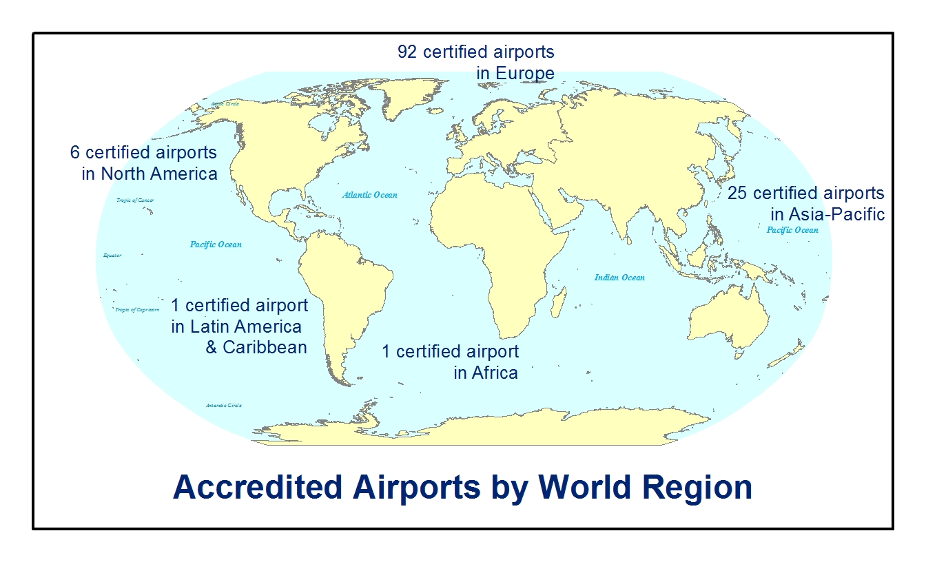 as of august 2015 a total of 125 airports have registered with aca figure 1 visualizes the distribution of airport participation by region